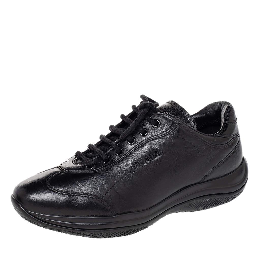Prada Sport Black Leather Low Top Sneakers Size 36.5
