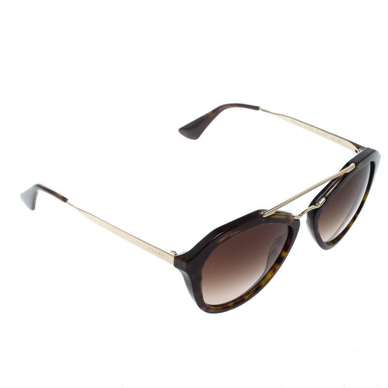 Prada Brown Tortoise/Brown Gradient SPR12Q Cat Eye Sunglasses