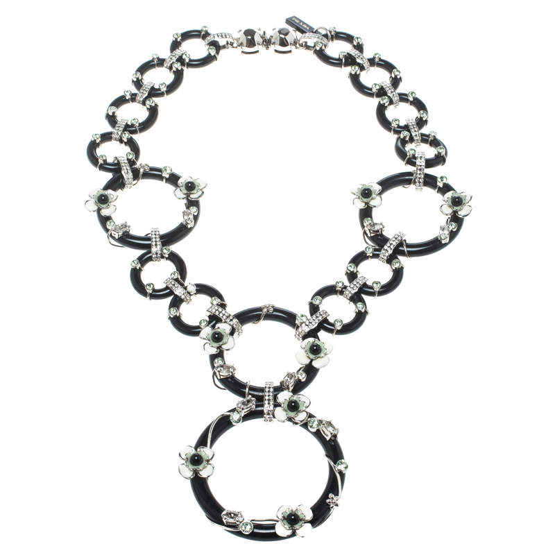 Prada Flower Power Black Plexiglas Crystal Floral Bedecked Link Necklace