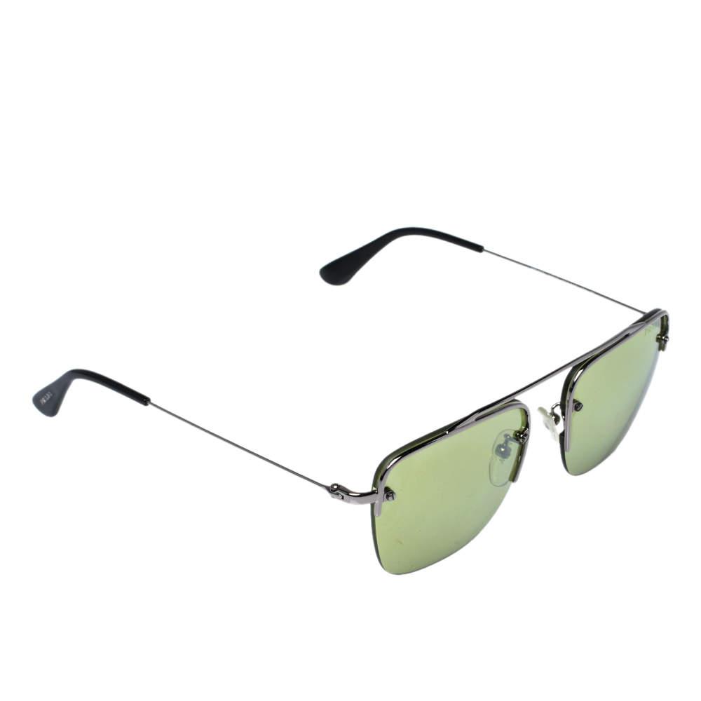 Prada Silver Tone/ Green SPR 570 Teddy Aviator Sunglasses