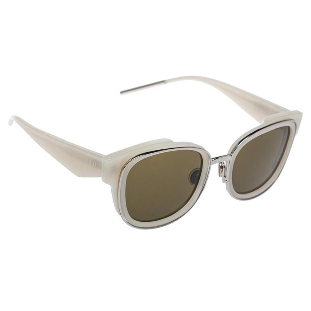 Dior White/Green Dior Very 2N Square Frame Sunglasses