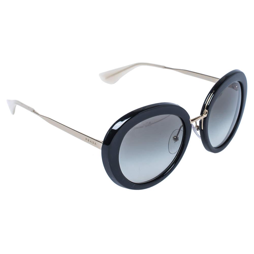 Prada Black / Green Gradient SPR 16Q Round Sunglasses
