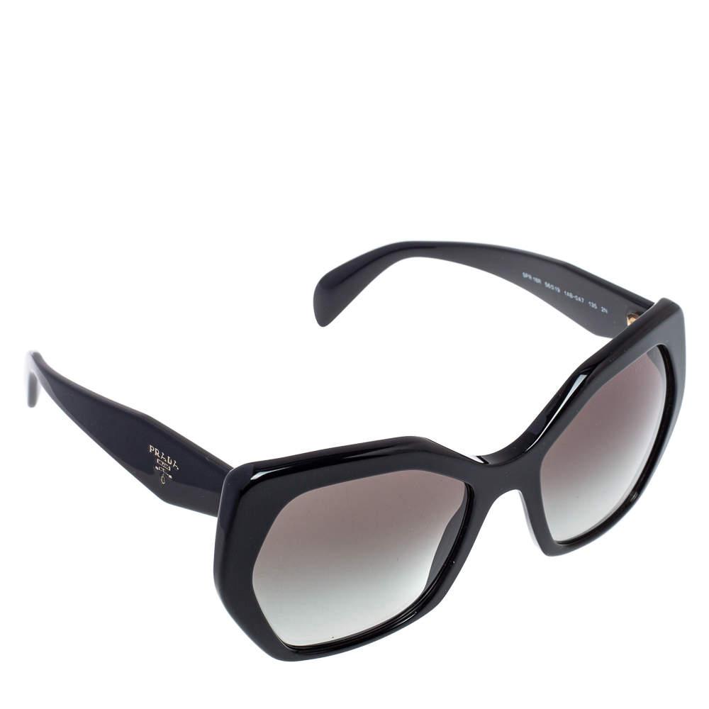 Prada Black/ Grey Gradient SPR 16R Hexagonal Sunglasses