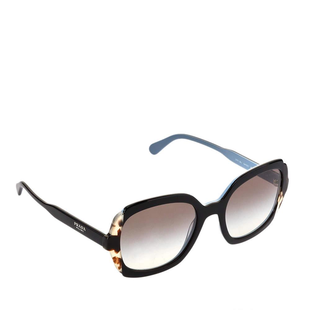 Prada Black & Blue / Green Gradient SPR 16U Etiquette Square Sunglasses