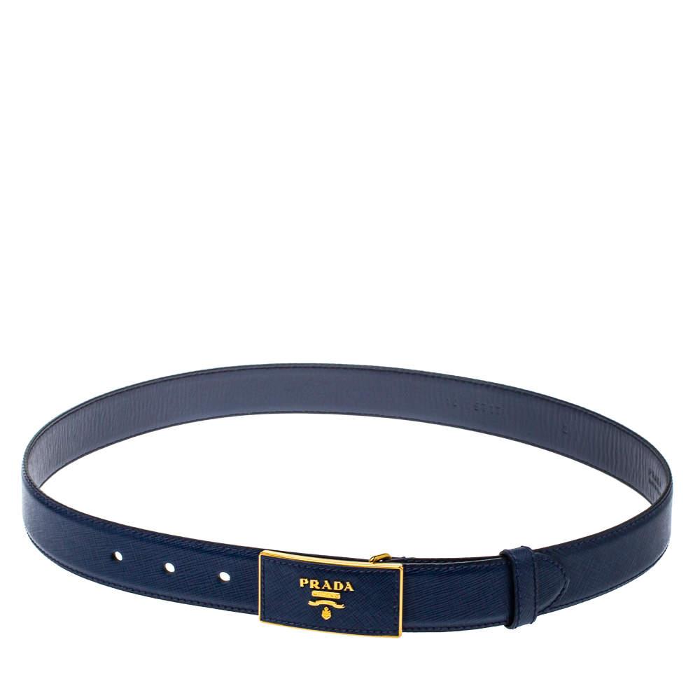 Prada Blue Saffiano Leather Buckle Belt 80CM