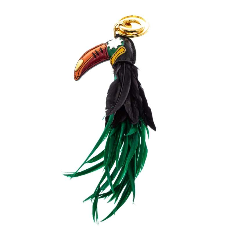 Prada Leather Paneled Feather Toucan Bag Charm / Key Ring