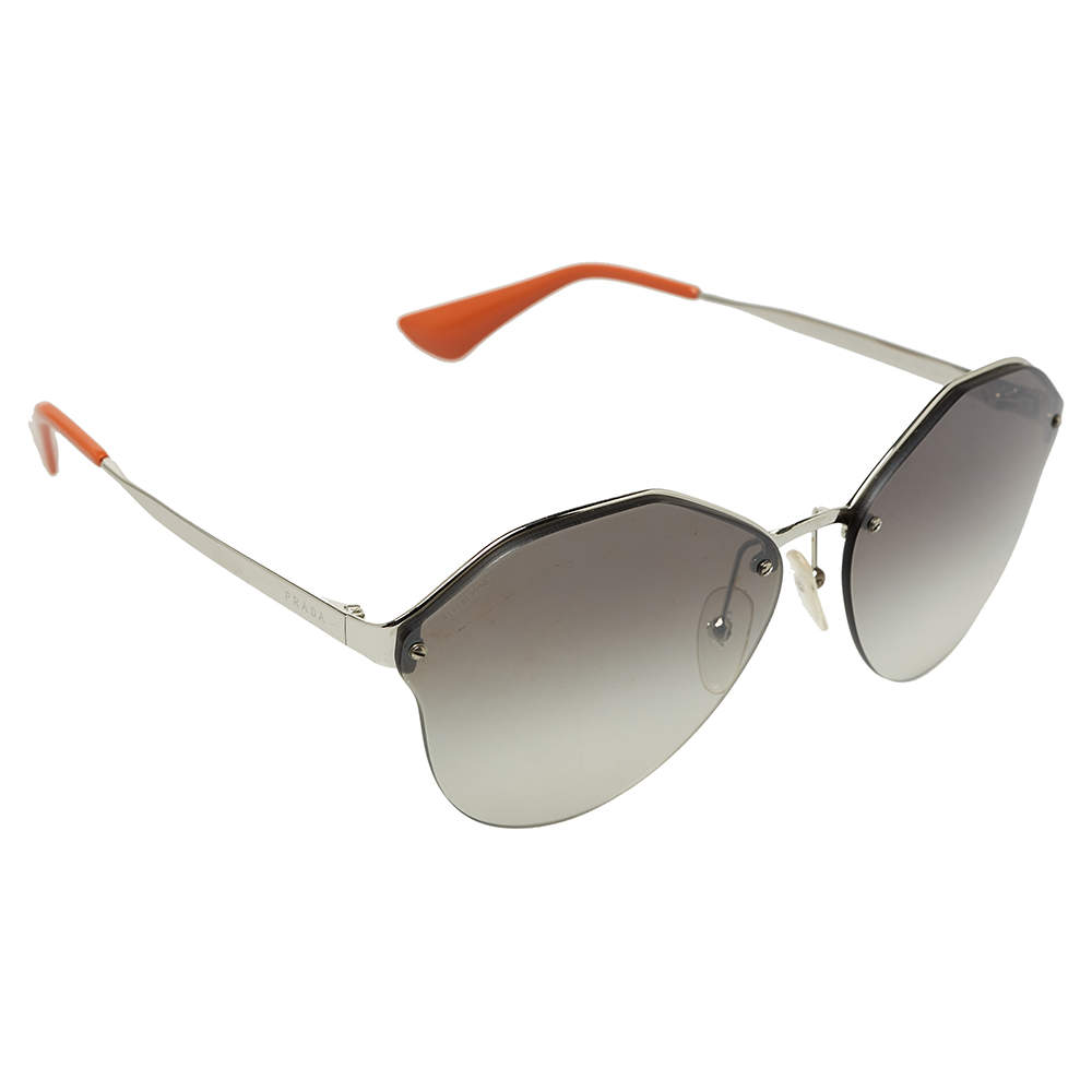 Prada Silver Tone/Grey Gradient Sunglasses SPR64T Aviator Sunglasses