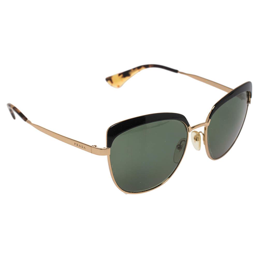 Prada Gold/ Green SPR51T Sabbiato Polarized Cat Eye Sunglasses