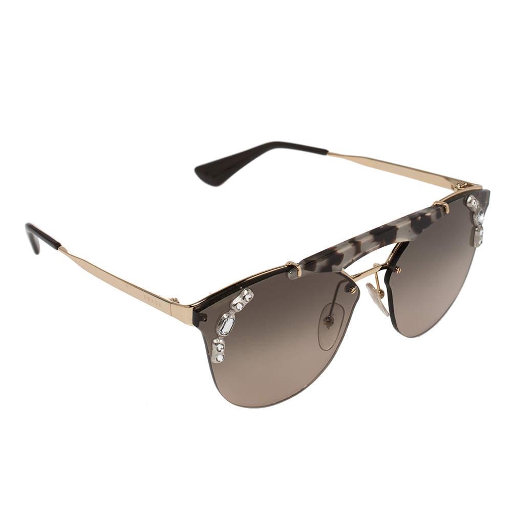 Prada Gold/Brown SPR 53U Clubmaster Sunglasses