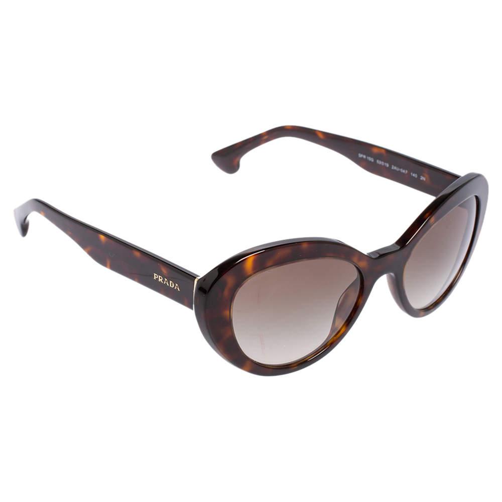 Prada Brown Havana SPR 15Q  Cat Eye Sunglasses
