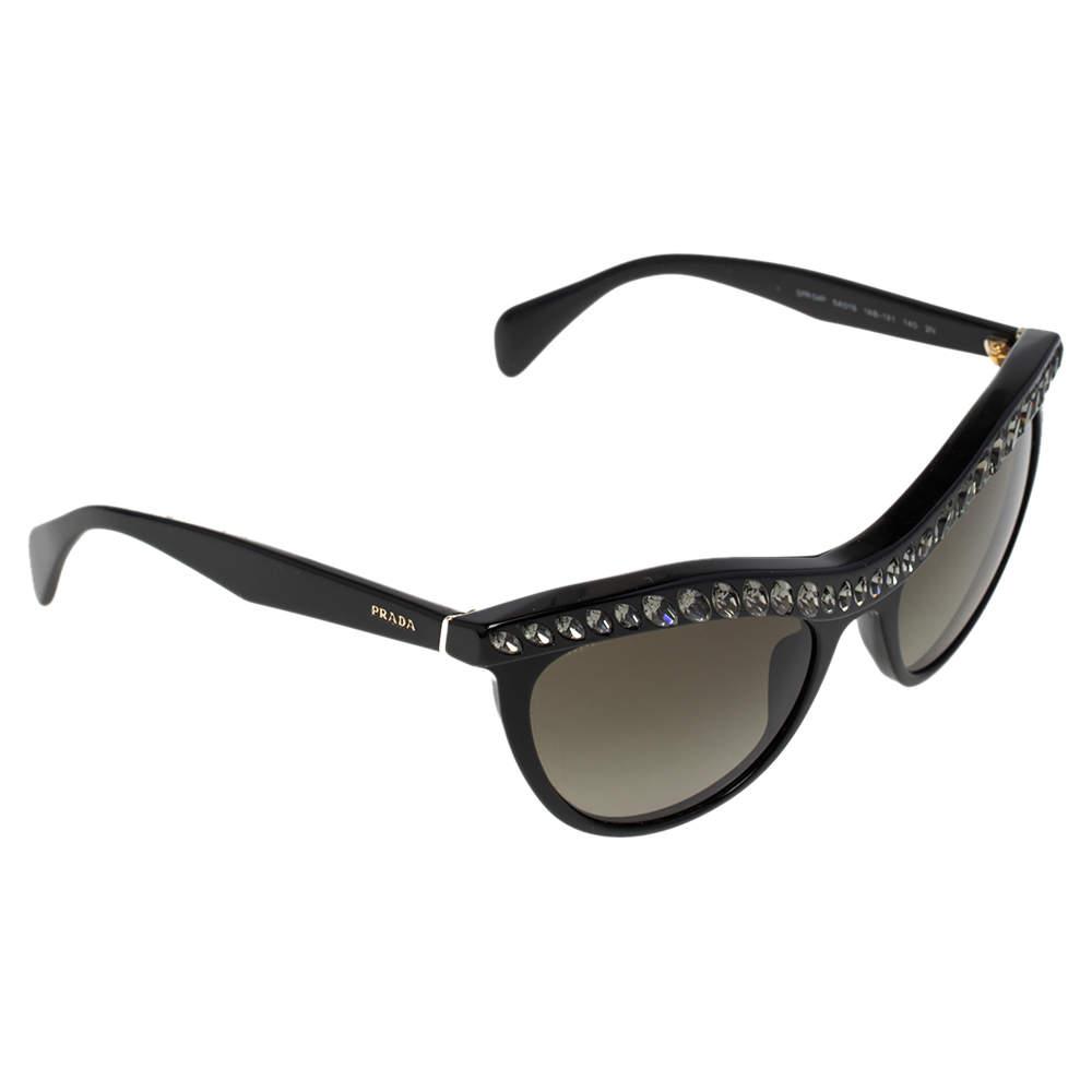 Prada Black SPR 04P Crystal Embellished Cateye Gradient Sunglasses