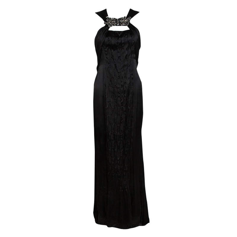 Prada Black Satin Neck Embellished Draped Ruffle Detail Sleeveless Gown M