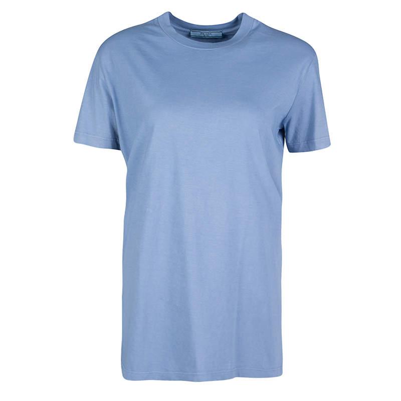 Prada Slate Blue Cotton Jersey Short Sleeve Crew Neck T-Shirt S