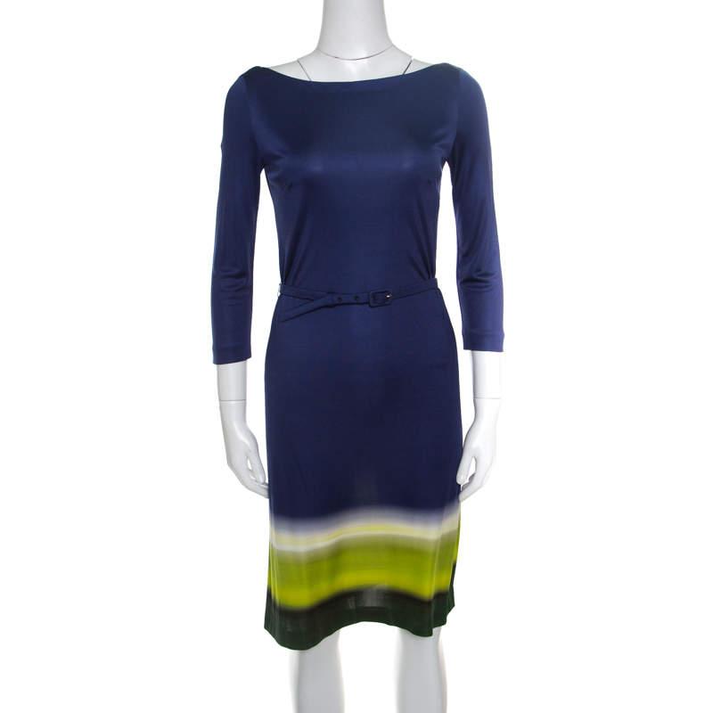 Prada Multicolor Silk Jersey Long Sleeve Belted Dress S