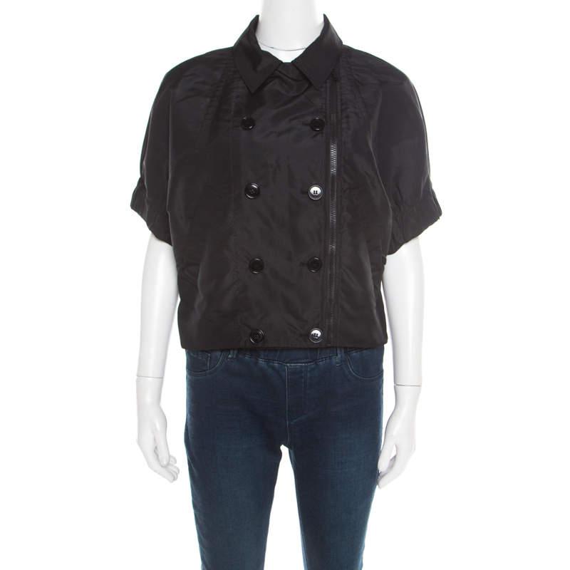 Prada Black Double Breasted Jacket Style Shirt L