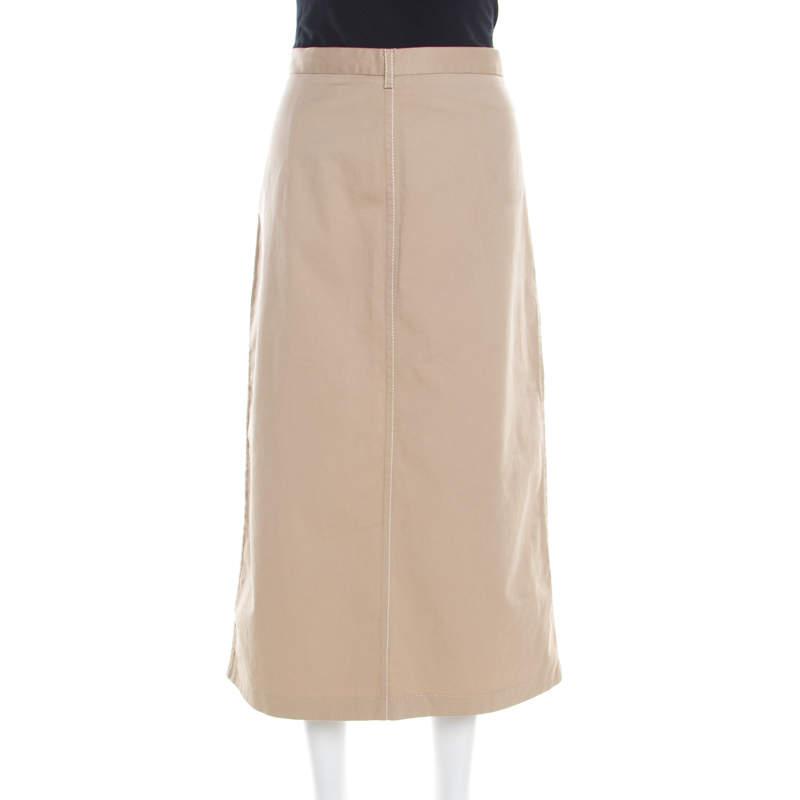 Prada Beige Cotton Contrast Top Stitch Detail Midi Skirt L