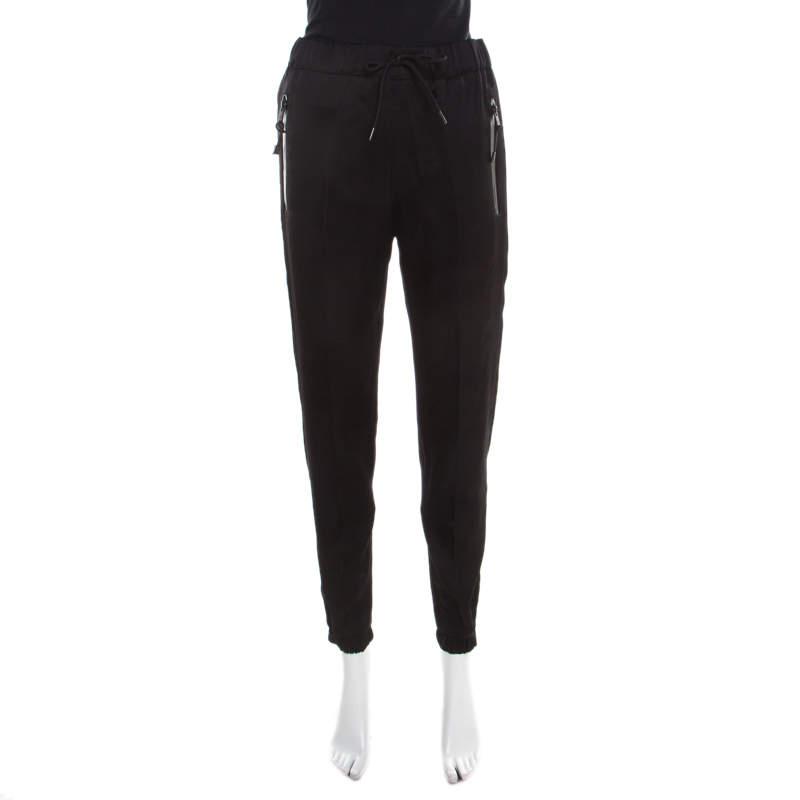Prada Black Satin Drawstring Detail Jogger Pants S