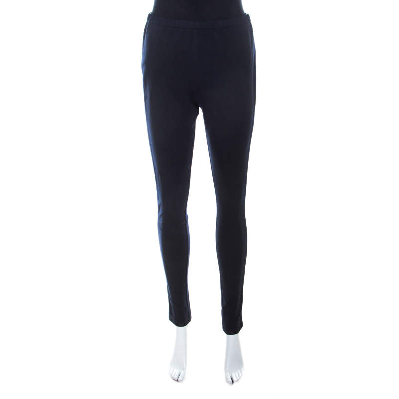 Prada Navy Blue Cotton Stretch Side Stripe Detail Tapered Track Pants M