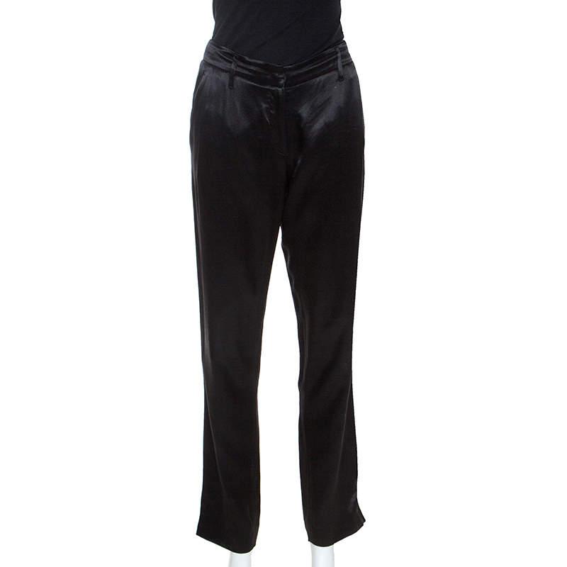 Prada Black Silk Blend Tapered Trousers S