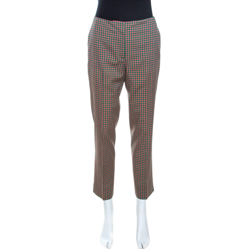 Prada Green and Peach Checkered Wool Blend Fitted Trousers M