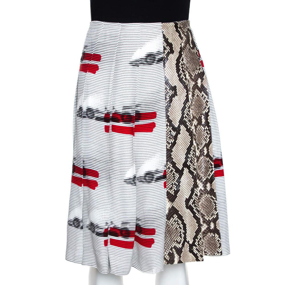 Prada White Printed Crepe Python Skin Trim Pleated Skirt L