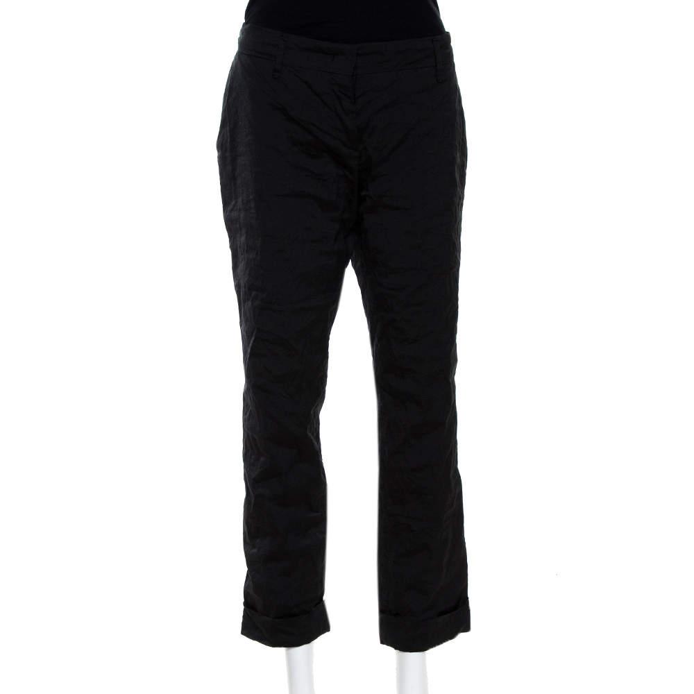 Prada Black Lurex Cotton Blend Cropped Trousers L
