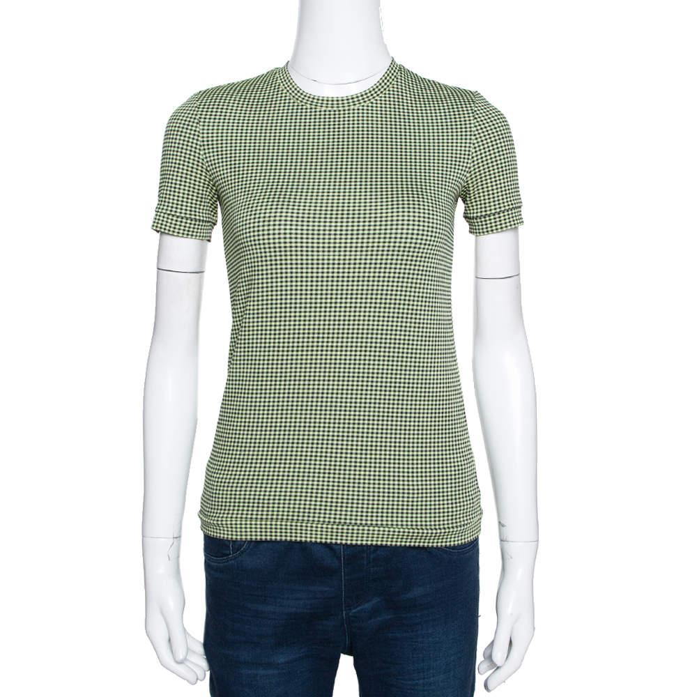 Prada Green & Black Textured Knit Short Sleeve Top S