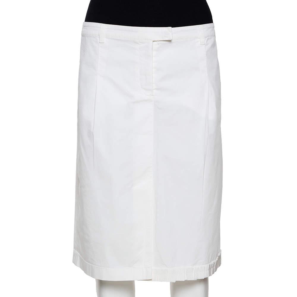 Prada White Cotton Ruffled Hem Slit Front Fitted Skirt L