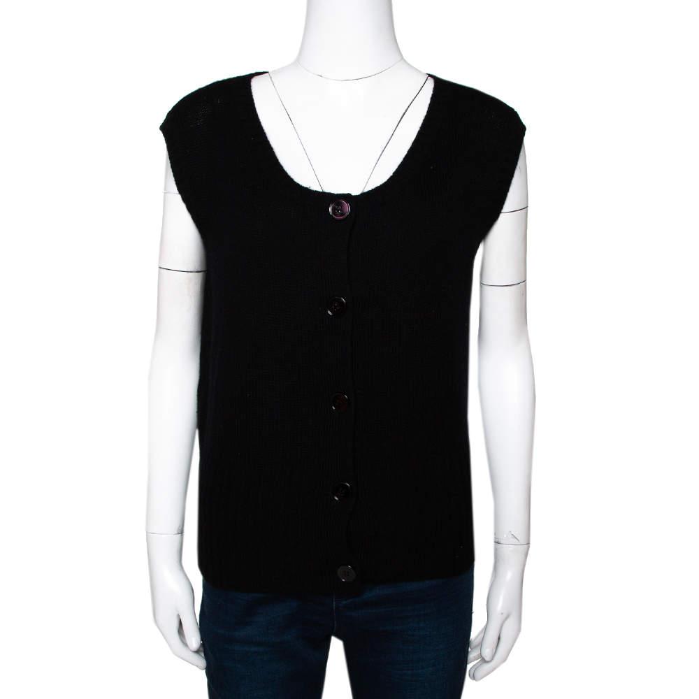 Prada Black Cashmere Knit Button Front Sleeveless Cardigan S
