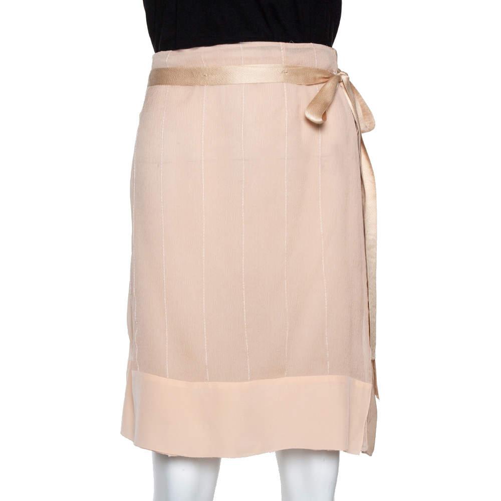 Prada Beige Crepe & Mesh Sheer A-Line Skirt M