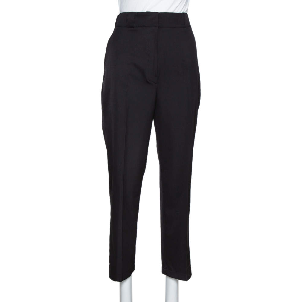 Prada Black Synthetic High Waisted Straight Leg Trousers S