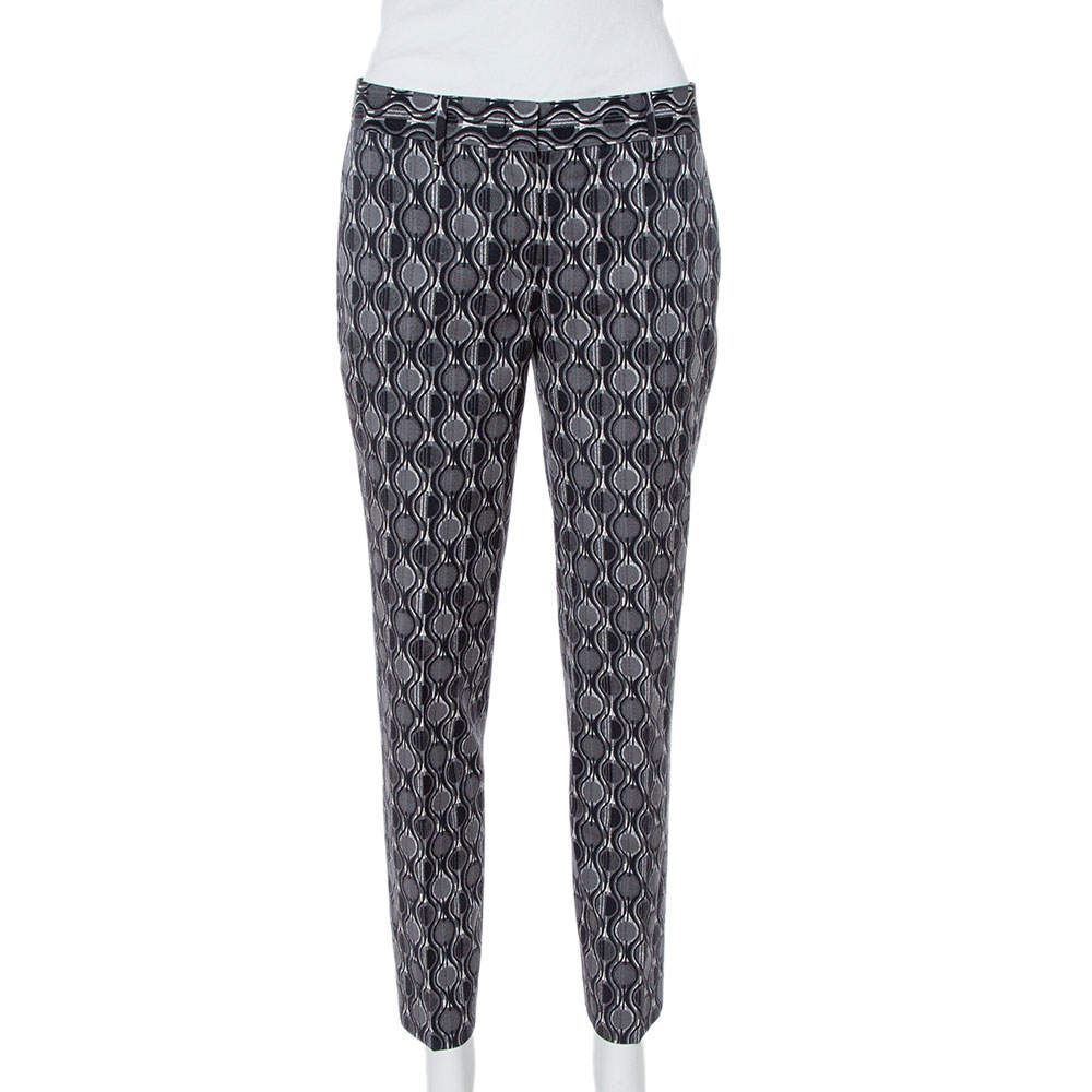 Prada Grey Printed Wool Tapered Trousers S