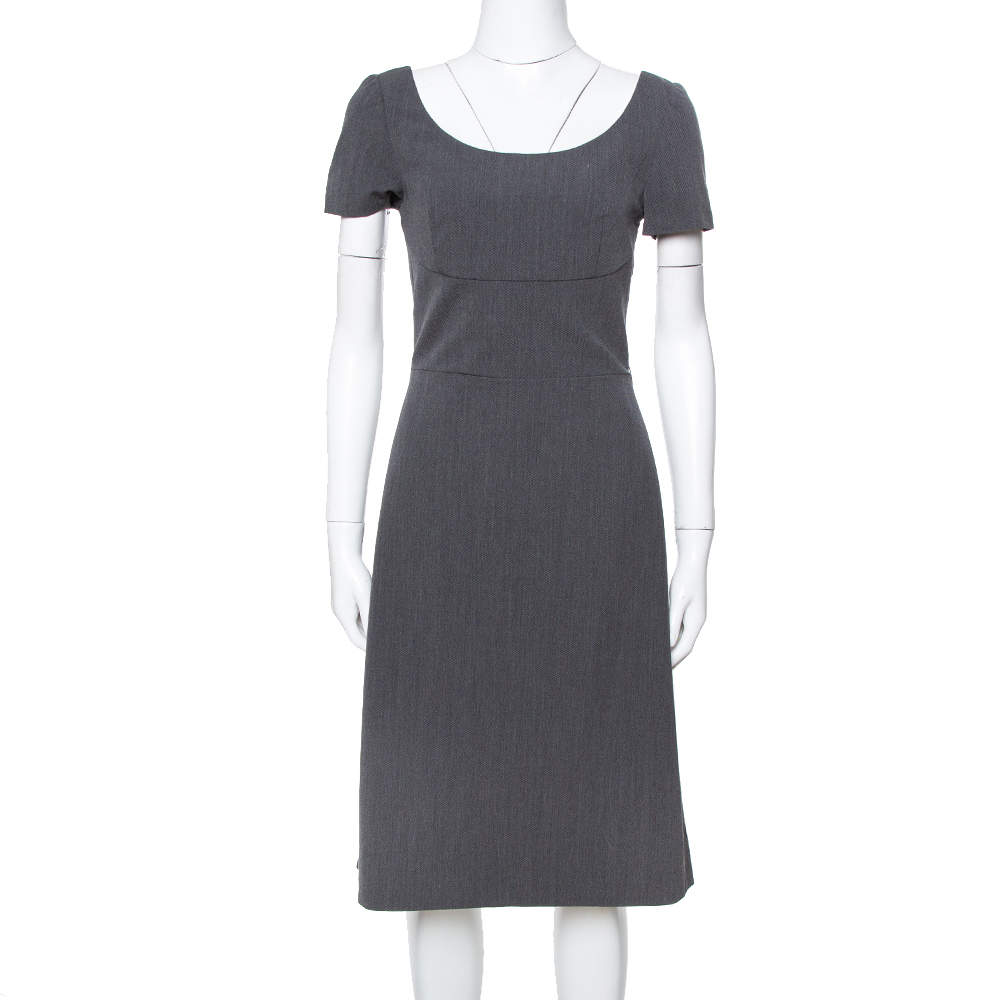Prada Grey Wool Short Sleeve Sheath Dress S