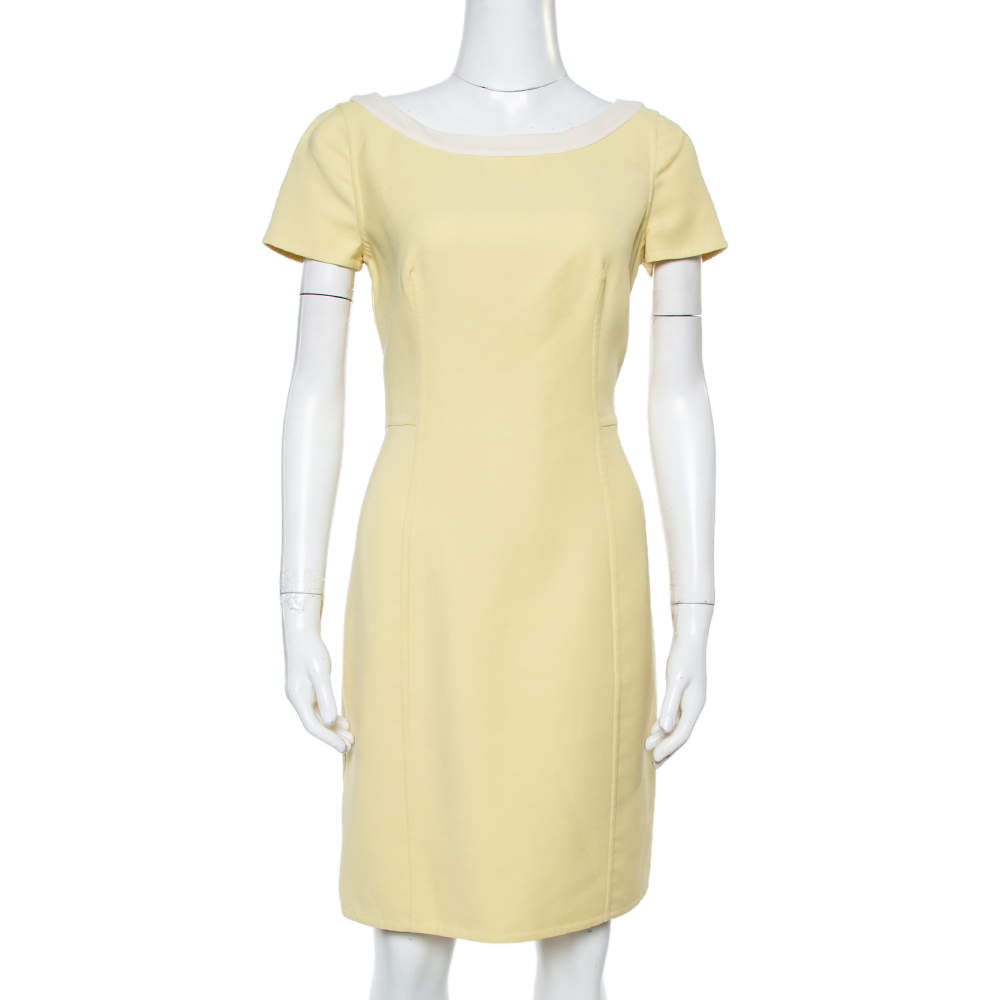 Prada Yellow Wool Crepe Sheath Dress M