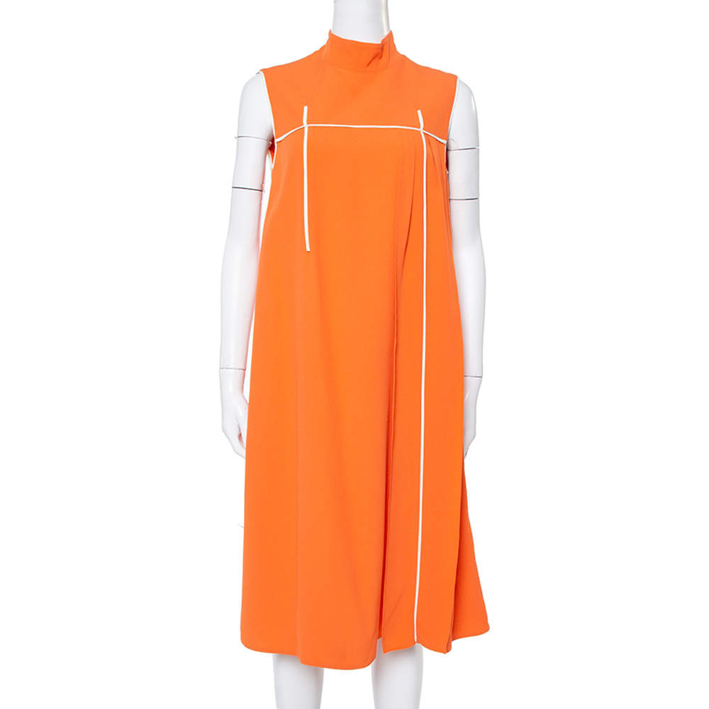 Prada Orange Crepe Sleeveless Midi Dress M