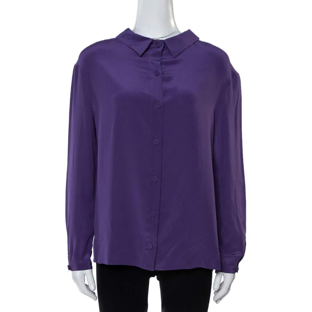 Prada Purple Silk Long Sleeve Back Button Blouse M