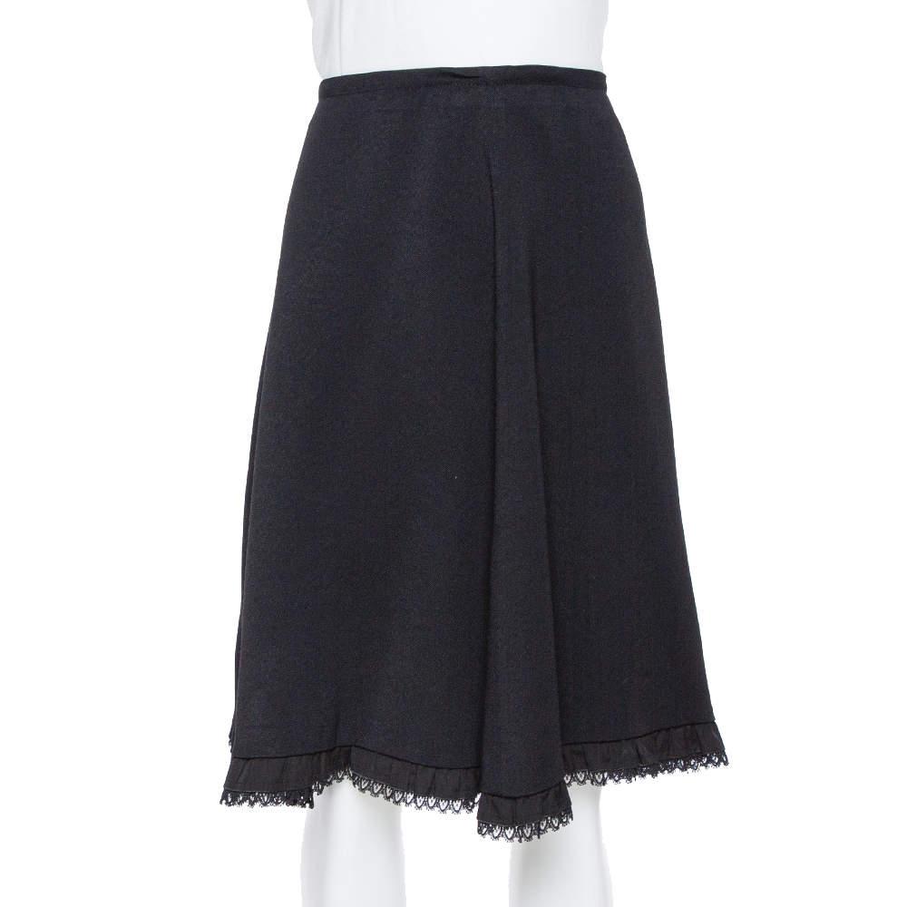 Prada Black Twill & Lace Detail Short Skirt M