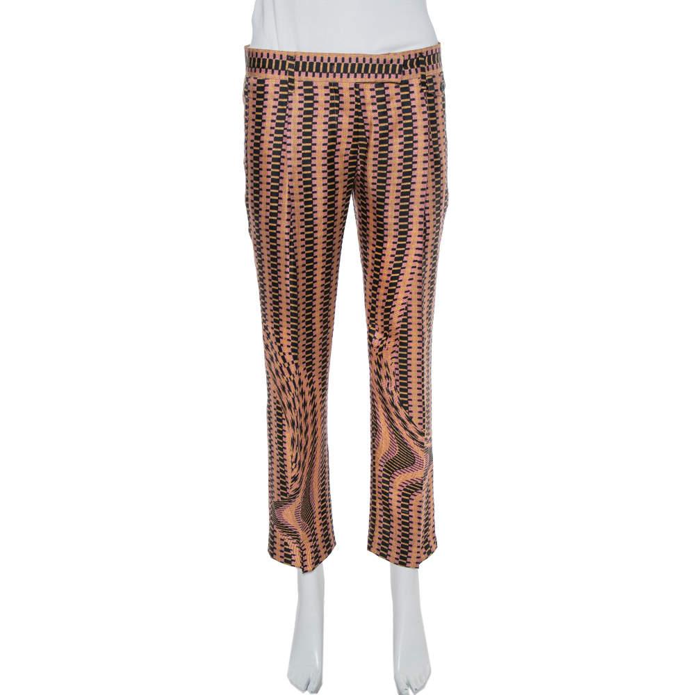 Prada Pink Weave Print Silk Cropped Trousers S