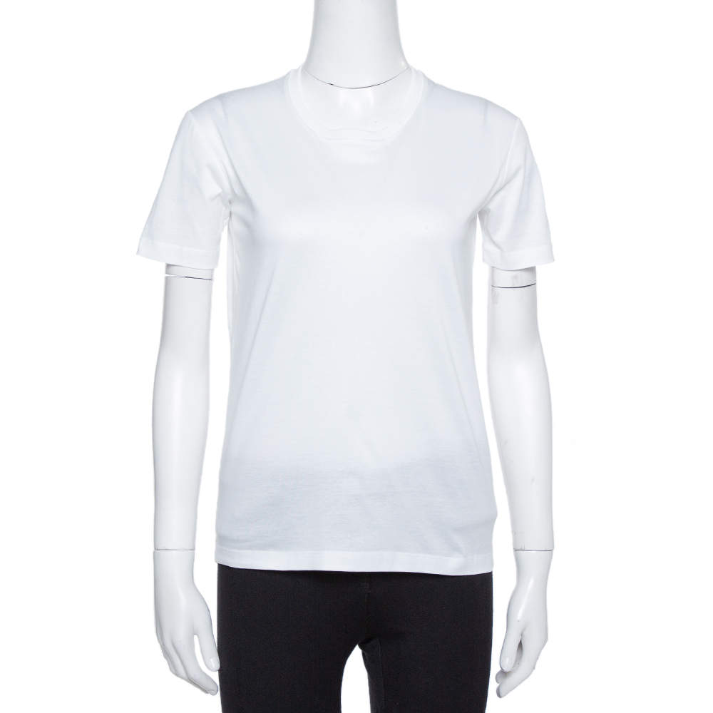 Prada White Cotton Jersey Crew Neck T-Shirt S