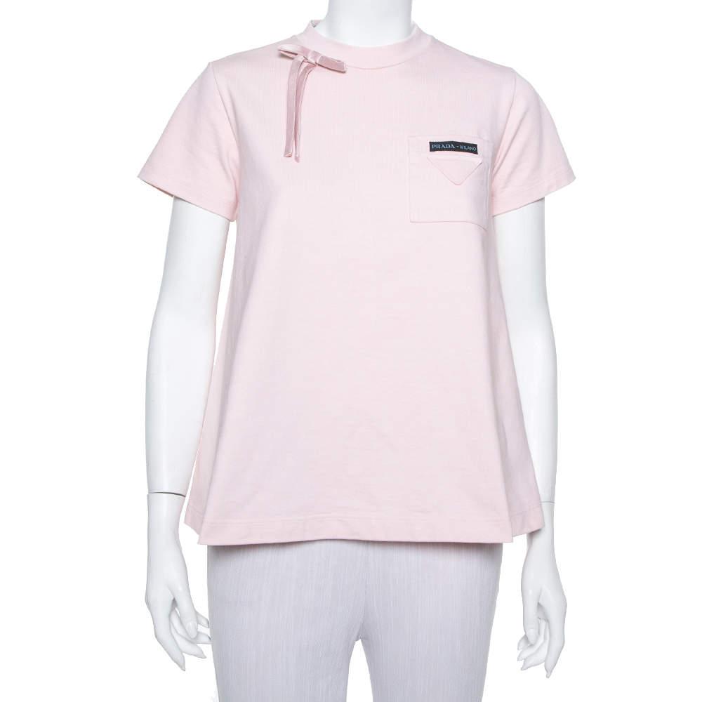 Prada Light Pink Cotton Bow Detail Crewneck T Shirt S