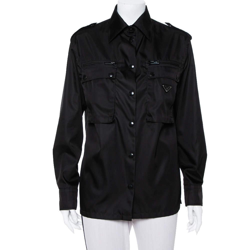 Prada Black Synthetic Front Pocket Detail Military Jacket XS