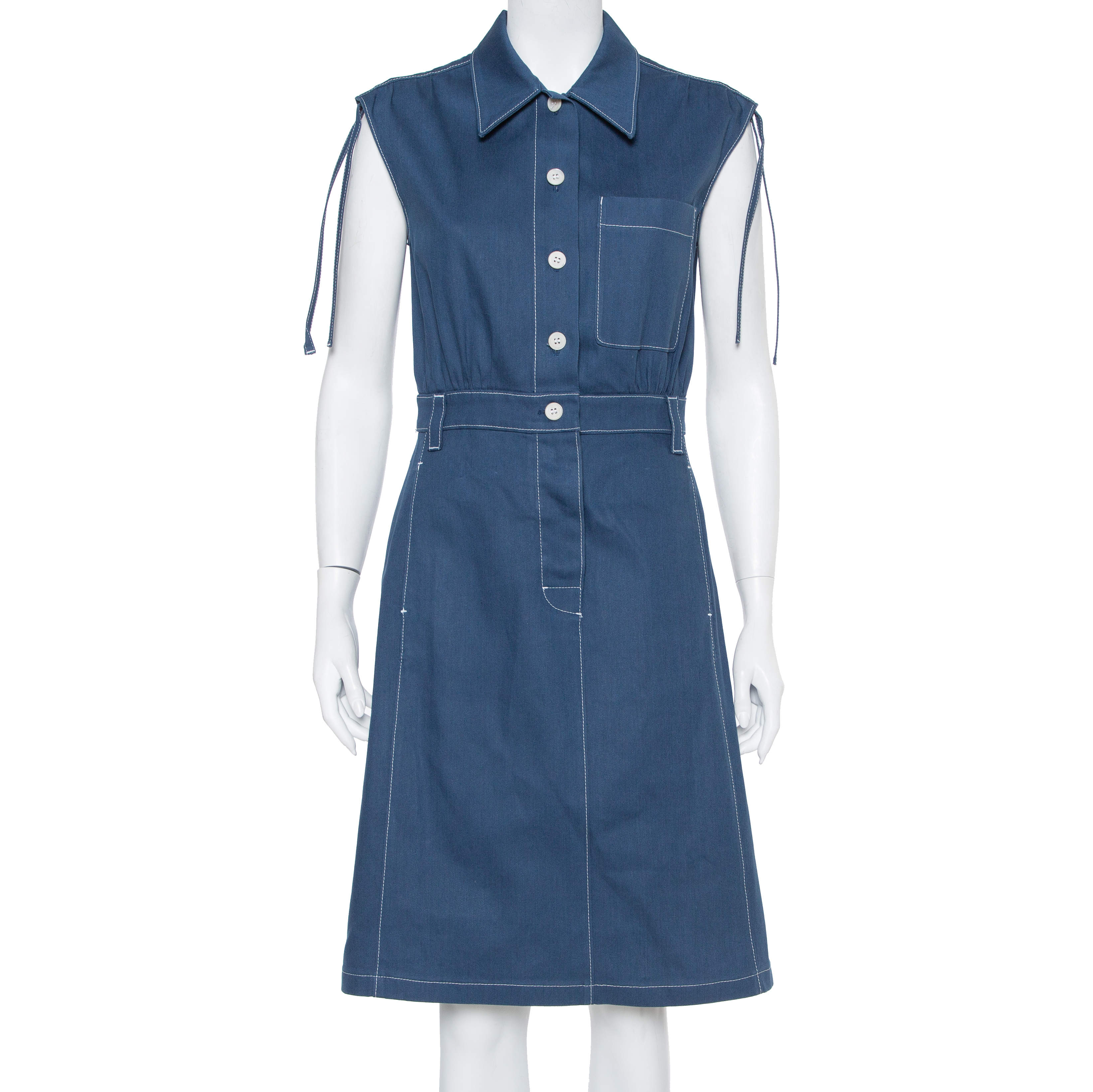 Prada Navy Blue Denim Button Front Sleeveless Midi Dress M