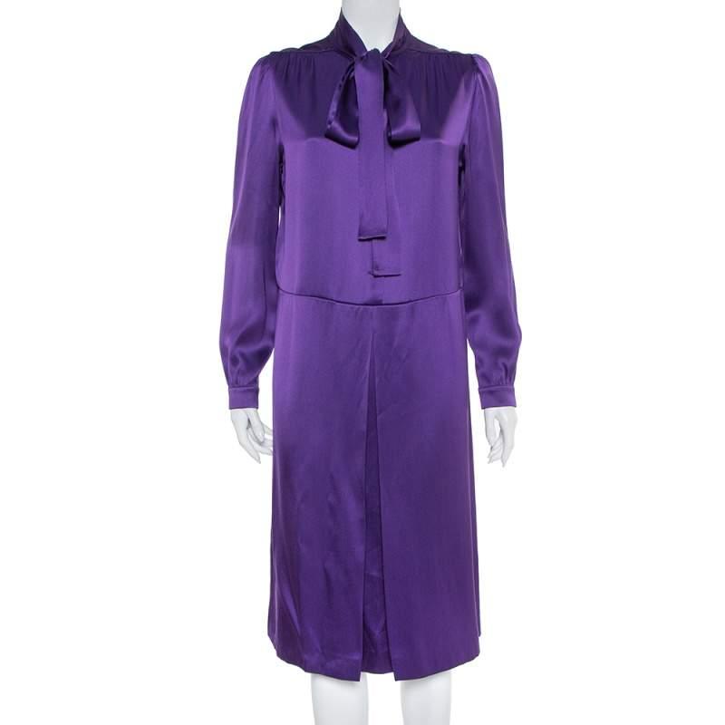 فستان برادا متوسط الطول برابطة رقبة ساتان بنفسجي مقاس متوسط