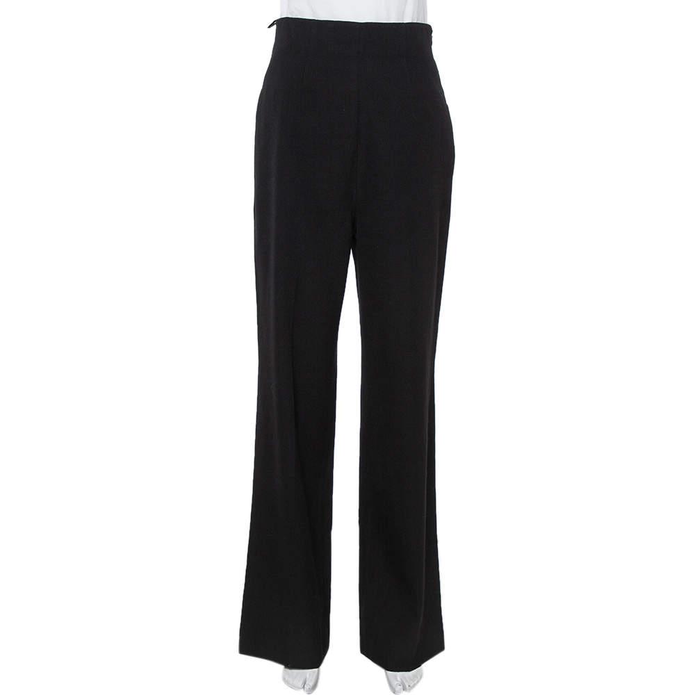 Prada Black Wool Wide Leg High Waist Trousers M