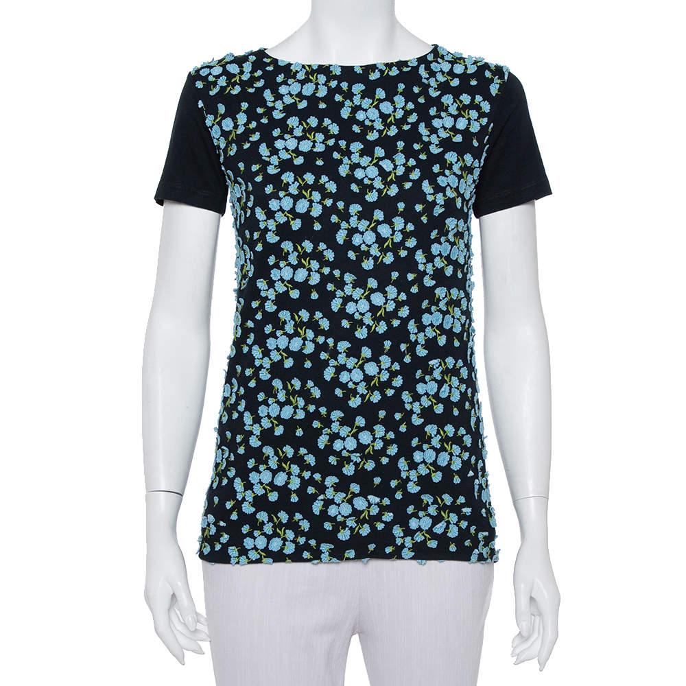 Prada Navy Blue Knit Applique Detail Short Sleeve T-Shirt XS