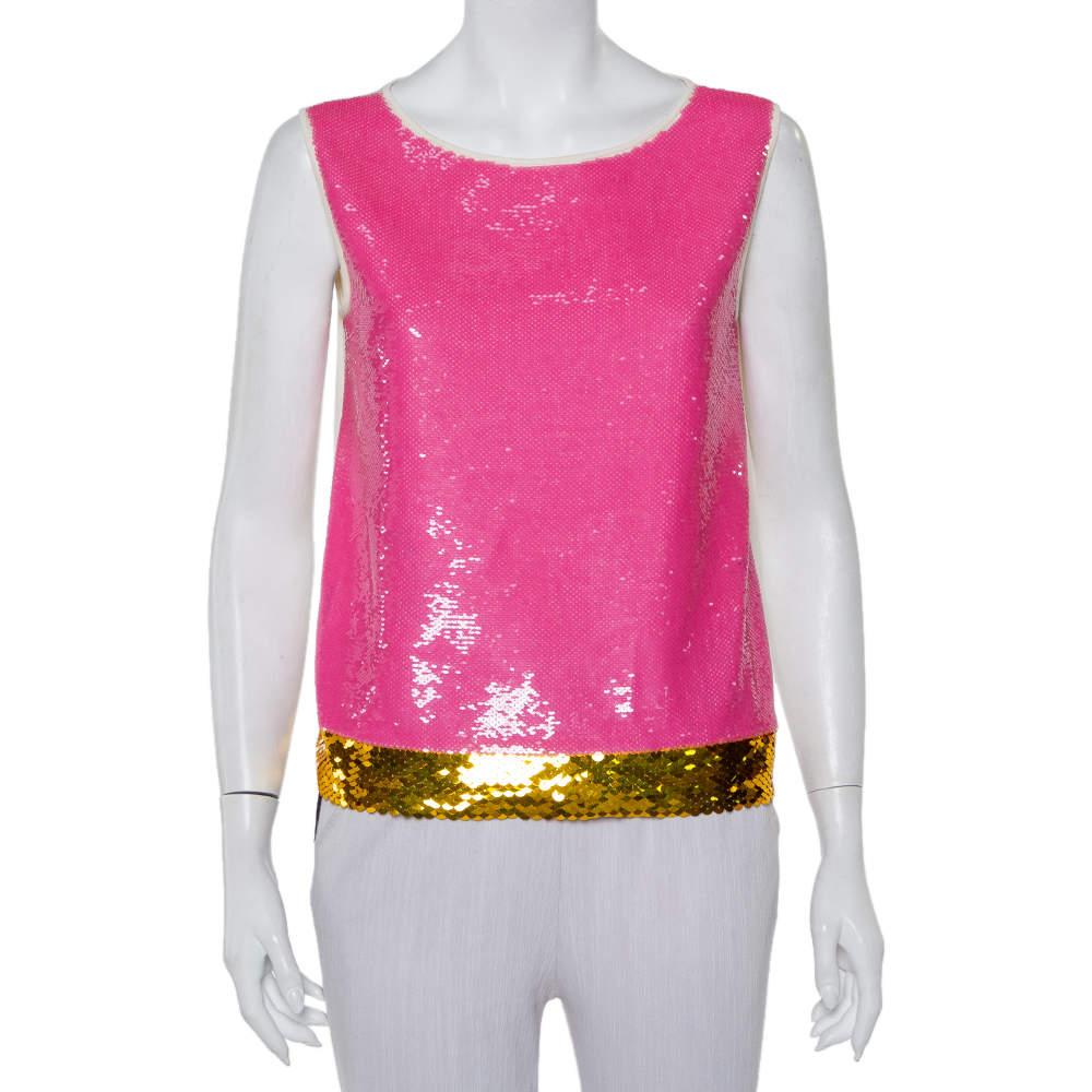 Prada Cream Knit Sequin Embellished Sleeveless Top M