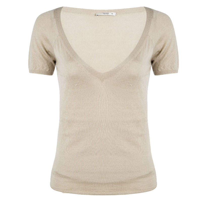 Prada Beige Knit V Neck Short Sleeve Sweater M