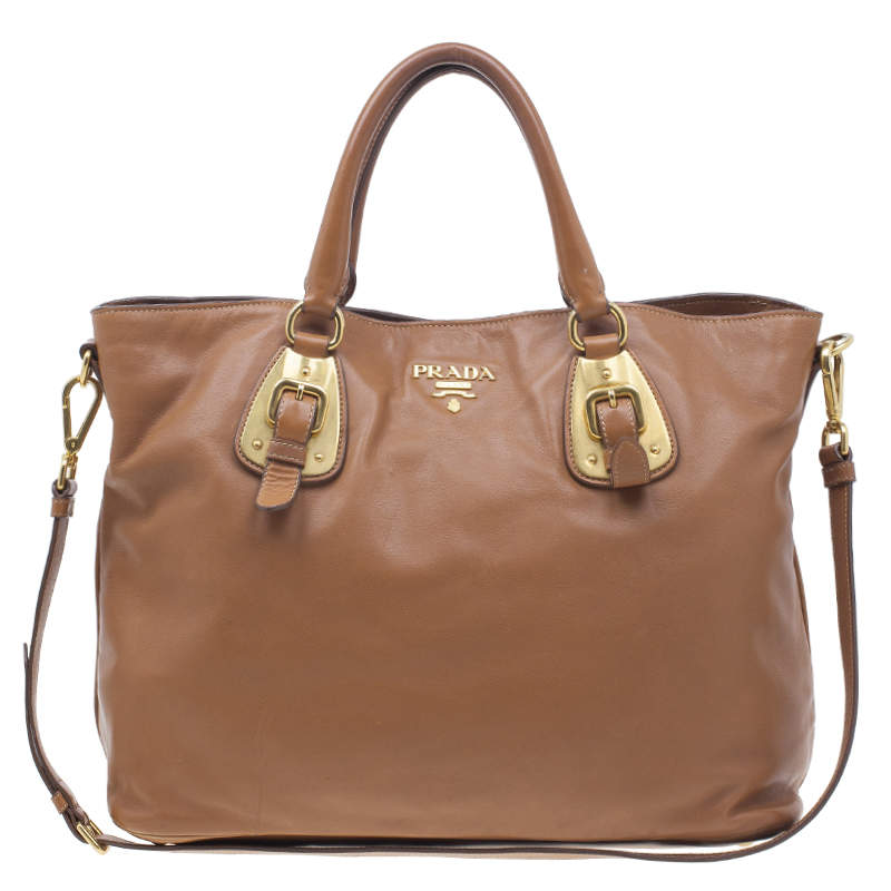 Prada Tan Soft Calf Leather Tote