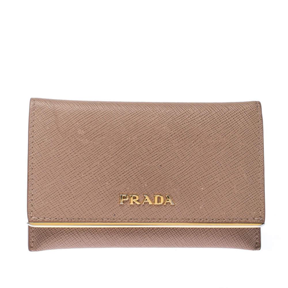 Prada Beige Saffiano Metal Leather Card Holder