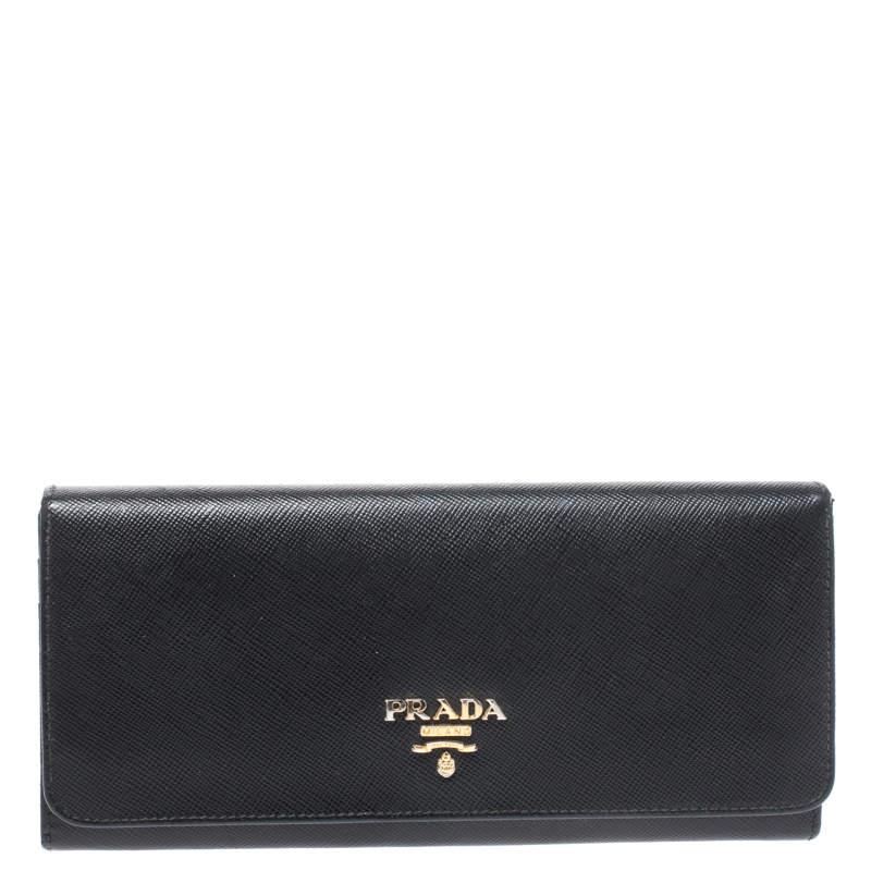 Prada Black Saffiano Leather Continental Wallet